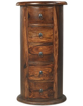 Jali Sheesham 5 Drawer Drum Chest of Drawers