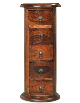 Jali Sheesham 5 Drawer Slim Drum Chest of Drawers