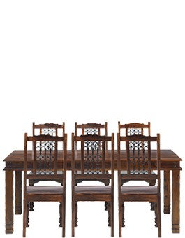 Jali Sheesham 180 cm Chunky Dining Table and 6 Chairs