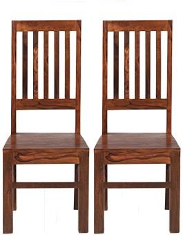 Sheesham High Back Slat Dining Chairs - Pair