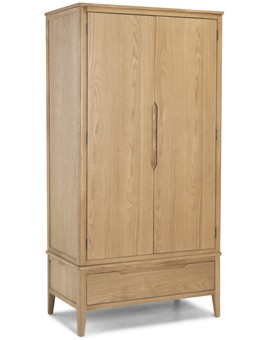Kutaz Oak Double Wardrobe With Drawer