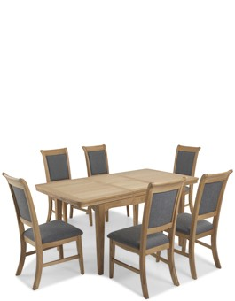 Kilmar Natural Oak Living & Dining Ext Dining Table with 6 Chairs