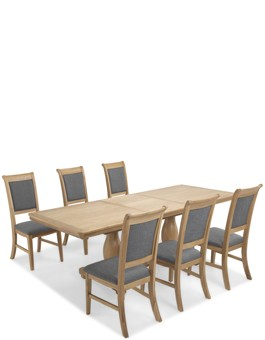 Kilmar Natural Oak Living & Dining Pedestal Ext Dining Table 180/230cm and 6 Chairs