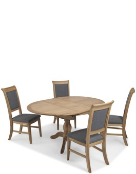 Kilmar Natural Oak Living & Dining Circular Extended Dining Table and 4 Chairs