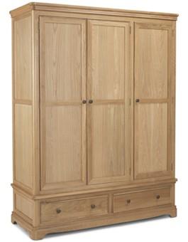 Kilmar Natural Oak Bedroom Triple Wardrobe With Drawer