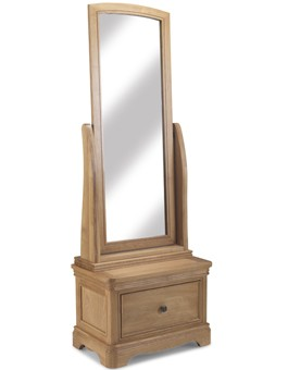 Kilmar Natural Oak Bedroom Sleigh Cheval Mirror With Drawer