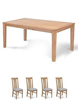 Eklund Oak 150cm Dining table and 4 Chairs