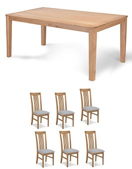 Eklund Oak 150cm Dining table and 6 Chairs