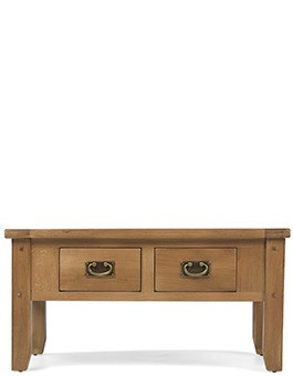 Rustic Oak Small 2 Drawer Coffee Table