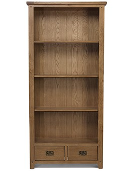 Rustic Oak Tall Large Bookcase