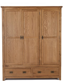 Rustic Oak Triple Wardrobe with 2 Drawers