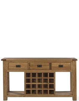 Rustic Oak Wine Rack Console Table