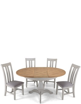 Aldington Painted Oval Extended Dining Table with 4 Chairs
