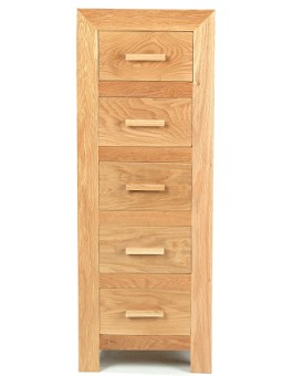 Cube Solid Oak 5 Drawer Tall Chest of Drawers