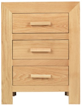 Cube Solid Oak 3 Drawer Bedside Cabinet