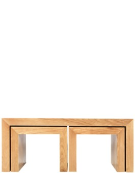 Cube Solid Oak Long John Nest Coffee Table