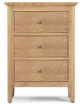 Hayman Oak 3 Drawer Bedside Cabinet