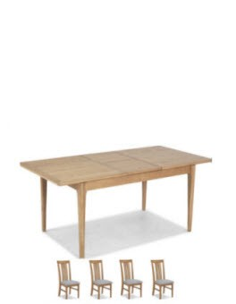 Hayman Oak 140/180cm Extended Dining Table and 4 Chairs