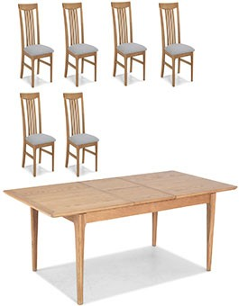 Hayman Oak 120/160cm Extended Dining Table and 6 Chairs