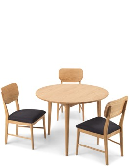 Skiena Oak Circular Dining Table With 2 Chairs