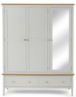 Merideth Painted Triple Wardrobe with Mirror