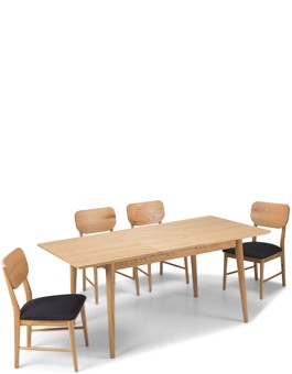 Skiena Oak Extended Dining Table With 4 Chairs