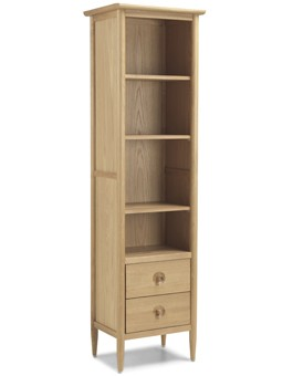 Skiena Oak Slim Bookcase With Drawer