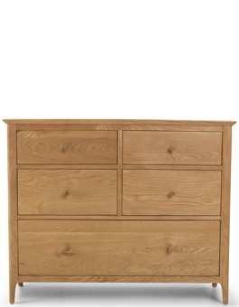 Kassay Oak  5 Drawer Wide Chest Of Drawers