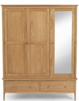 Kassay Oak Triple Wardrobe with Mirror