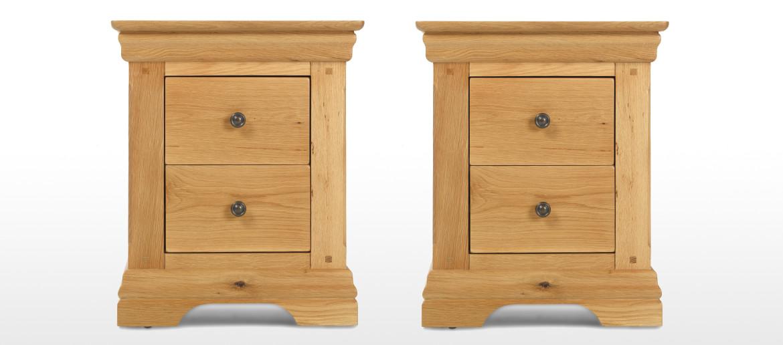 Constance Oak 2 Drawer Bedside Cabinet