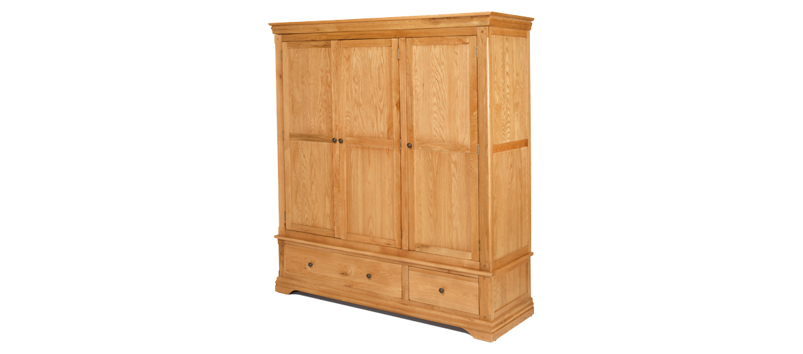 Constance Oak Triple Wardrobe with 2 Drawers Angle