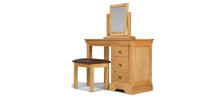 Constance Oak Dressing Table Set Angle