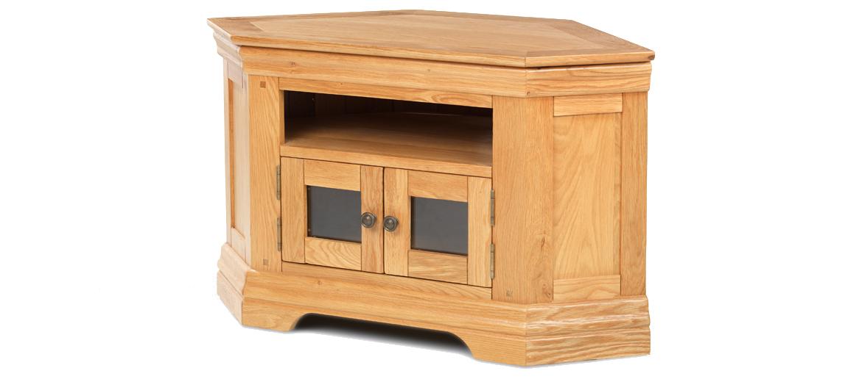 Constance Oak Corner TV Cabinet Angle