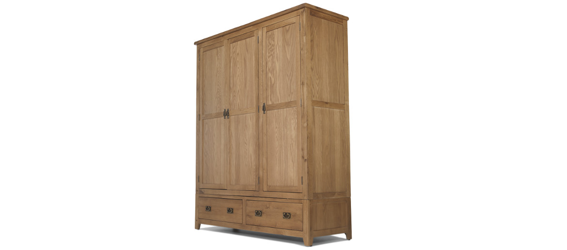 Rustic Oak Triple Wardrobe with 2 Drawers Angle