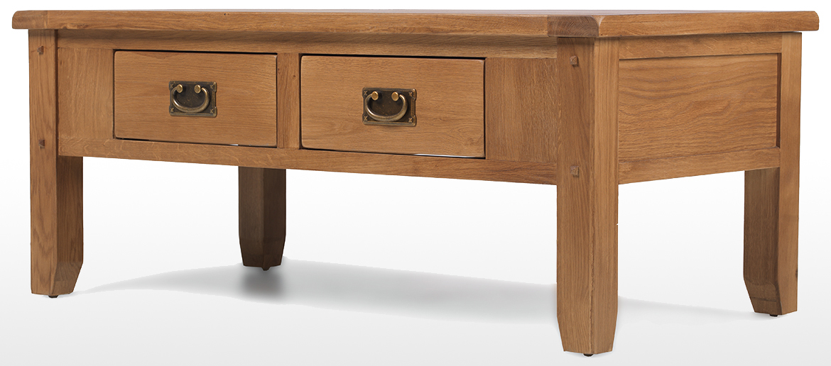 Rustic Oak 2 Drawer Coffee Table Quercus Living