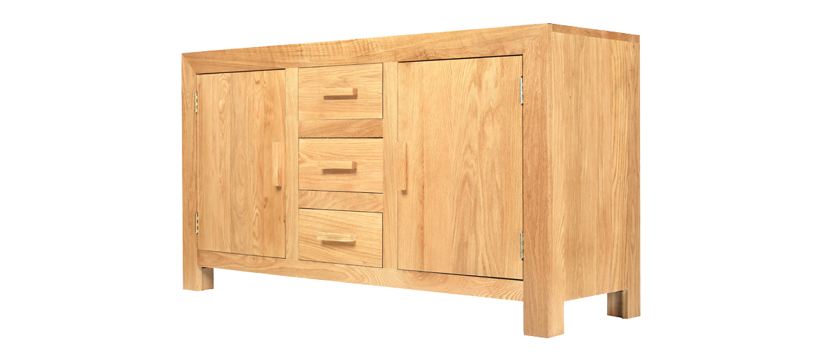Cube Solid Oak Large Sideboard Angle