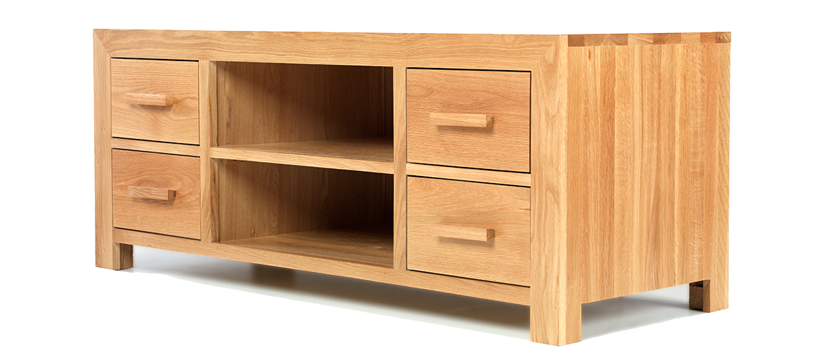 Cube Solid Oak Plasma TV Stand Angle