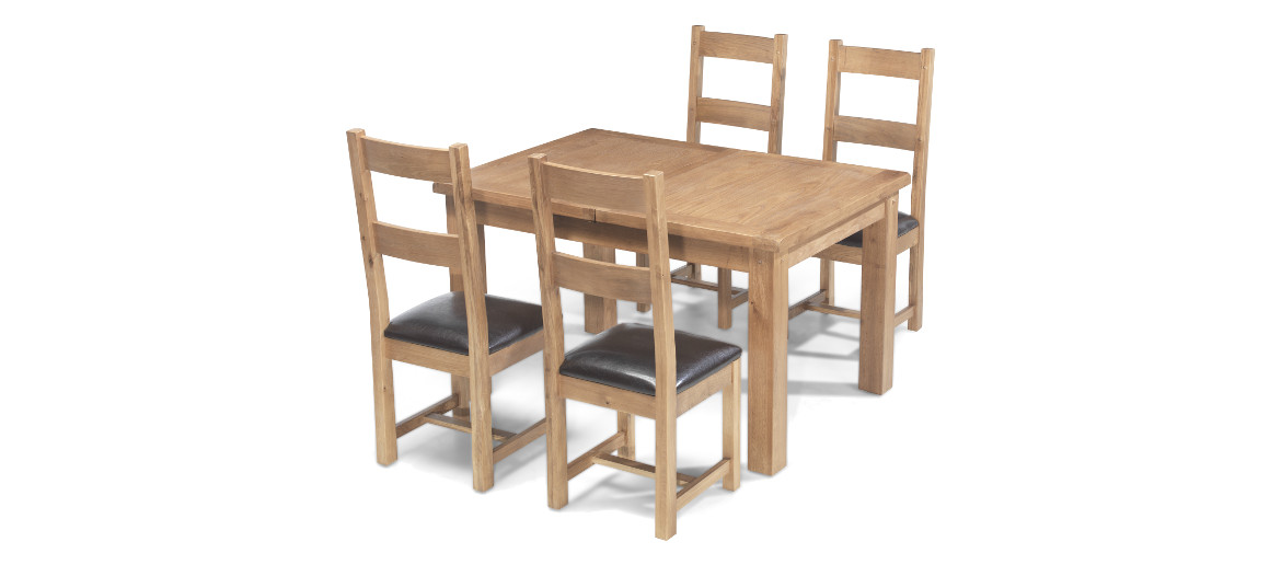 Rustic Oak 132 198 Cm Extending Dining Table And 4 Chairs Quercus
