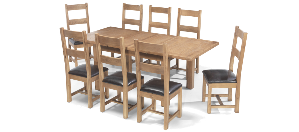 Rustic Oak 132 198 Cm Extending Dining Table And 8 Chairs Quercus Living