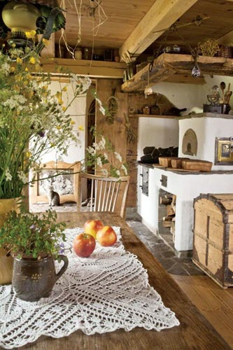 Earthy woody colours are made for cosy cottages