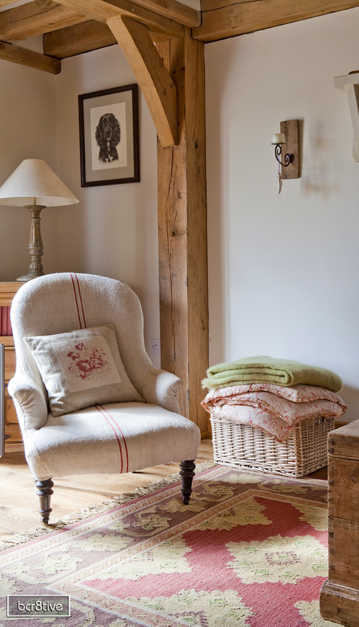 Country cottage living room natural textures