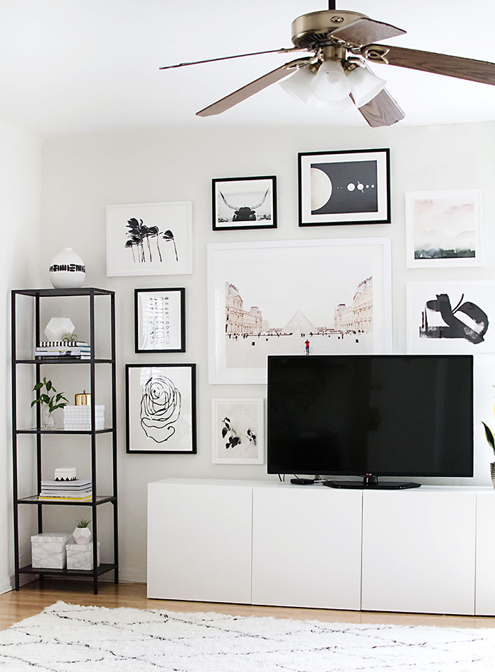 gallery wall around TV
