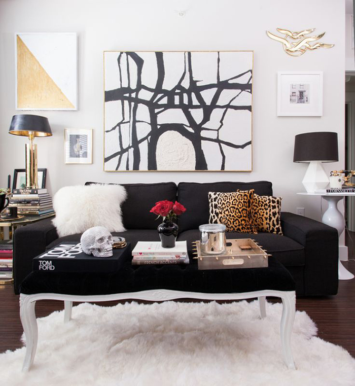 small sofa in glam space